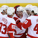Detroit Red Wings' Johan Franzen (93) celebrates his goal with teammates Daniel Alfredsson (11) Niklas Kronwall (55) Darren Helm (43) and Pavel Datsyuk (14) during first period NHL hockey action against the Ottawa Senators in Ottawa, Thursday, Feb. 27, 2