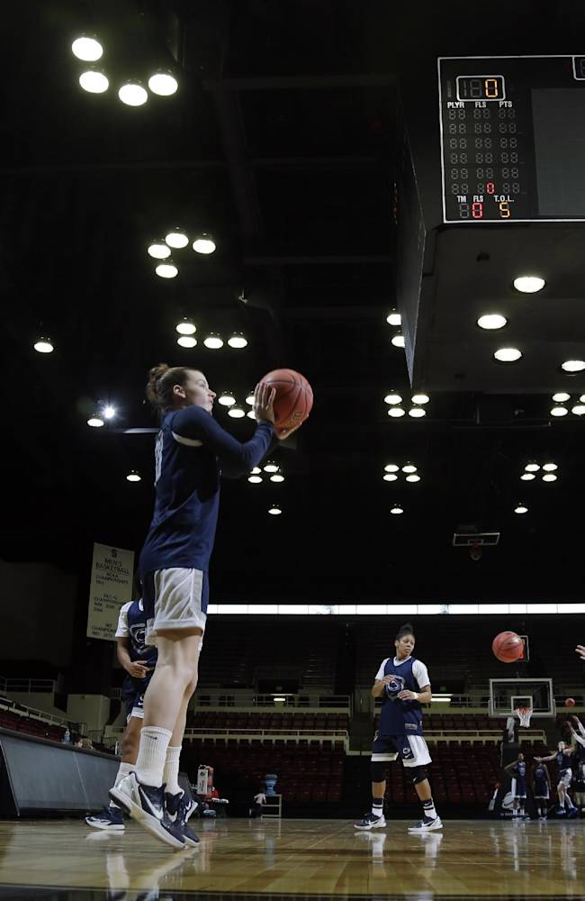 Penn State players, including Maggie Lucas, center, go through shooting drills during practice at the NCAA college basketball tournament in Stanford, Calif., Saturday, March 29, 2014.  Penn State plays Stanford in a regional semifinal on Sunday