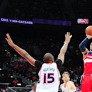 ATLANTA, GEORGIA - MAY 3: Bradley Beal #3 of the Washington Wizards shoots against the Atlanta Hawks during Game One of the Eastern Conference Semifinals during the NBA Playoffs on May 3, 2015 at Philips Center in Atlanta, Georgia. (Photo by Scott Cunningham/NBAE via Getty Images)