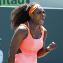 Serena Williams reacts after winning a game against Svetlana Kuznetsovaduring their match at the Miami Open tennis tournament in Key Biscayne, Fla., Monday, March 30, 2015. Williams won 6-2, 6-3. (AP Photo/J Pat Carter)