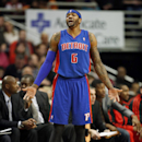 Detroit Pistons forward Josh Smith reacts after being called for a foul against the Chicago Bulls during the first half of an NBA basketball game in Chicago, Saturday, Dec. 7, 2013 The Associated Press