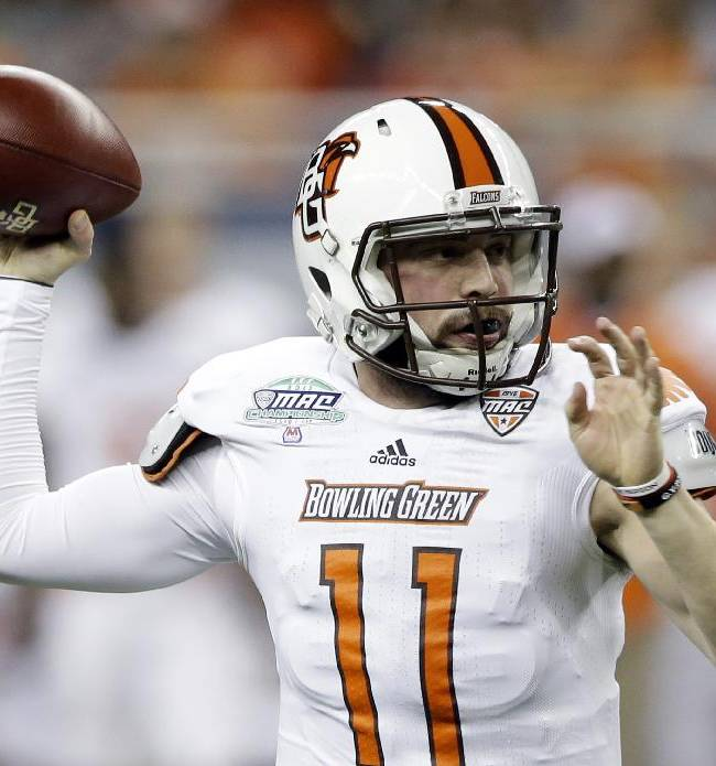 Bowling Green quarterback Matt Johnson throws during the first quarter of an NCAA college football game against Northern Illinois at the Mid-American Conference championship in Detroit, Friday, Dec. 6, 2013