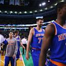 BOSTON, MA - FEBRUARY 25:  Tim Hardaway Jr. #5; Andrea Bargnani #77 and Cleanthony Early #17 of the New York Knicks exit the court following the game against the Boston Celtics at TD Garden on February 25, 2015 in Boston, Massachusetts. The Celtics defeat the Knicks 115-94. NOTE TO USER: User expressly acknowledges and agrees that, by downloading and or using this photograph, User is consenting to the terms and conditions of the Getty Images License Agreement.  (Photo by Maddie Meyer/Getty Images)