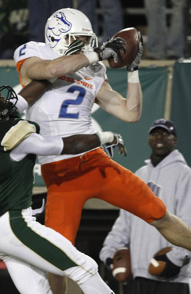 Boise State wide receiver Matt Miller, right, pulls in a pass for a touchdown as Colorado State defensive back Tyree Simmons covers in the third quarter of Boise State's 42-30 victory in an NCAA college football game in Fort Collins, Colo., on Saturday, Nov. 2, 2013