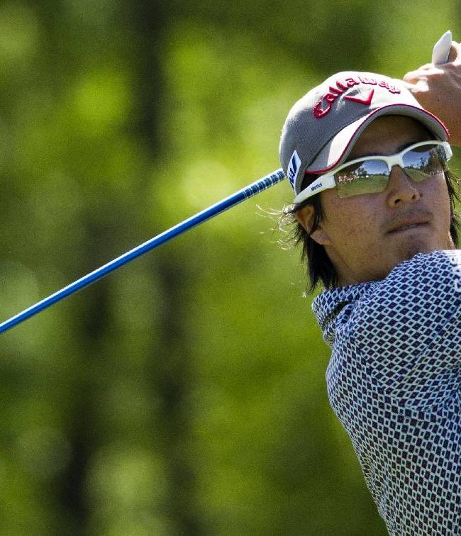 Ryo Ishikawa tees off on the 12th hole during the second round of the Houston Open golf tournament, Friday, April 4, 2014, in Humble, Texas