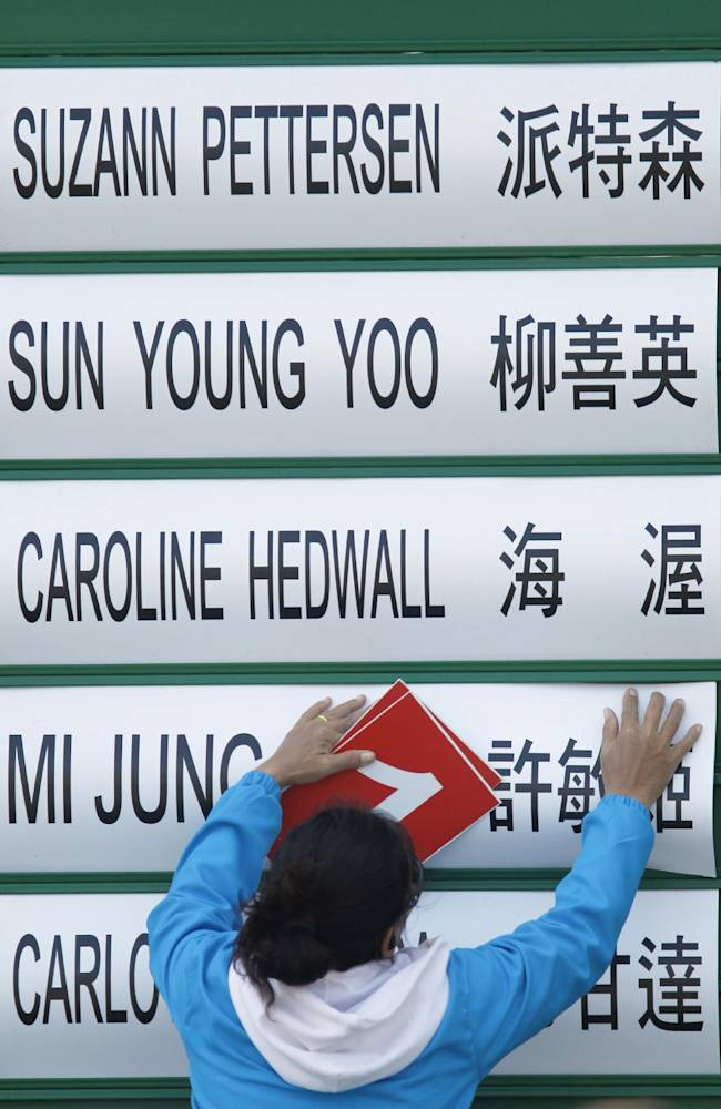 A course staff member updates the leaderboard during the third day of the LPGA Taiwan Championship tournament at the Sunrise Golf and Country Club, Saturday, Oct. 26, 2013, in Yangmei, northern Taiwan