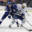 Tampa Bay Lightning defenseman Victor Hedman (77), of Sweden, knocks the puck away from Vancouver Canucks left wing Chris Higgins (20) during the first period of an NHL hockey game Tuesday, Jan. 20, 2015, in Tampa, Fla The Associated Press