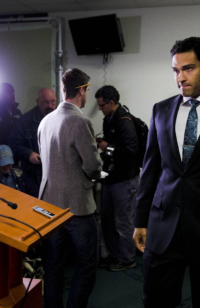 Philadelphia Eagles quarterback Mark Sanchez arrives for a news conference at the NFL football team's training facility, Friday, March 28, 2014, in Philadelphia. Sanchez agreed to a one-year contract with the Eagles after the New York Jets signed Michael Vick last Friday