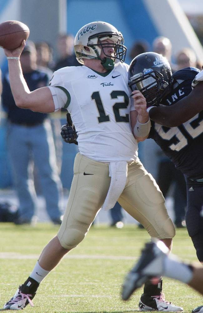 William and Mary quarterback Brent Caprio (12) is hit by Maine defensive end Trevor Bates (92) while trying to throw a pass in the second half of an NCAA college football game Saturday, Oct. 19, 2013, in Orono, Maine