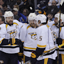 Nashville Predators' Shea Weber (6), Colin Wilson (33), Craig Smith (15) and Eric Nystrom celebrate a goal by Weber during the second period of an NHL hockey game against the Buffalo Sabres in Buffalo, N.Y., Tuesday, March 11, 2014 The Associated Press