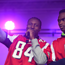 Atlanta Falcons wide receivers Roddy White, left, and Julio Jones speak on stage during the NFL Fan Rally in Trafalgar Square, London, England, Saturday, Oct. 25, 2014. The Atlanta Falcons will play the Detroit Lions in an NFL football game at London's We