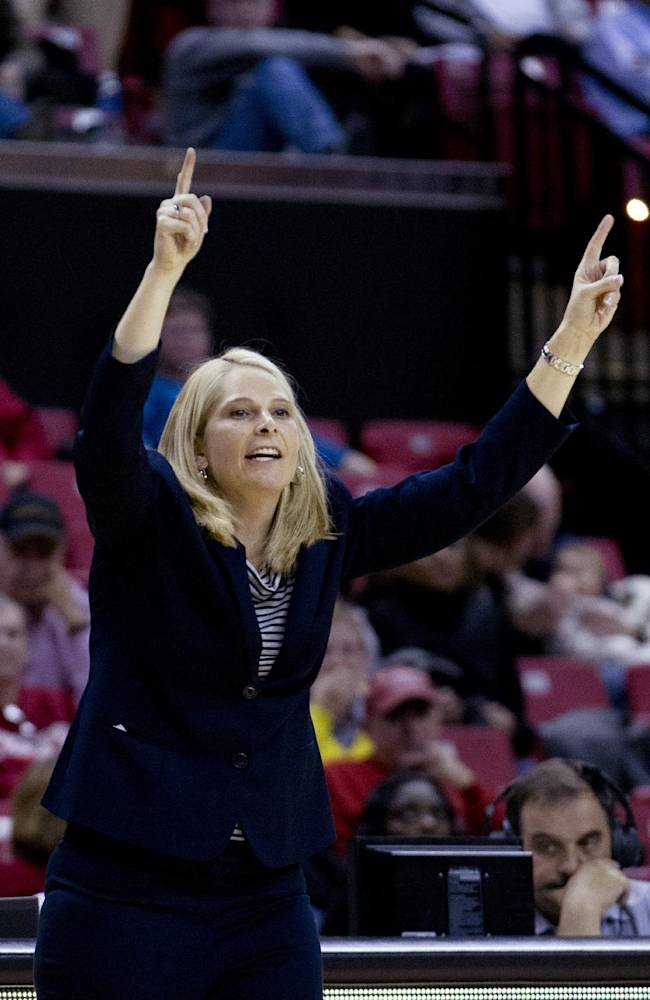Maryland's coach Brenda Frese gestures to her team in the game against Drexel during the second half of an NCAA college basketball game at the Comcast Center in College Park, Md., Monday, Nov. 25, 2013