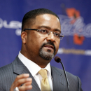 Frank Haith talks to reporters after being named Tulsa men's basketball coach, Friday, April 18, 2014, in Tulsa, Okla. Haith was 76-28 at Missouri. He replaces Danny Manning, who left for Wake Forest after two seasons in Tulsa. (AP Photo/Tulsa World, Stephen Pingry)