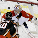 Florida Panthers goalie Al Montoya, right, blocks a shot by Anaheim Ducks center Nate Thompson during the third period of an NHL hockey game in Anaheim, Calif., Sunday, Nov. 16, 2014 The Associated Press
