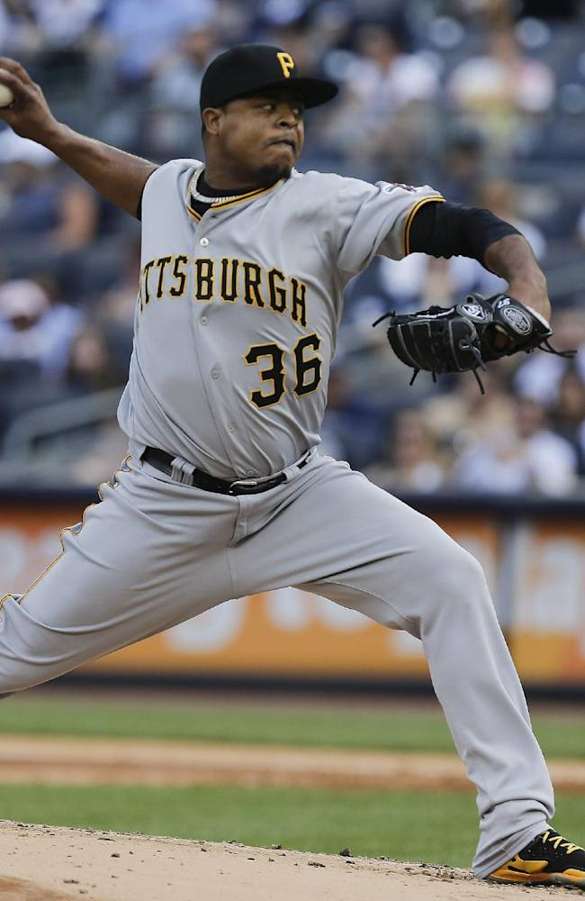 Pittsburgh Pirates pitcher Edinson Volquez delivers against the New York Yankees during the first inning of a baseball game, Saturday, May 17, 2014, in New York