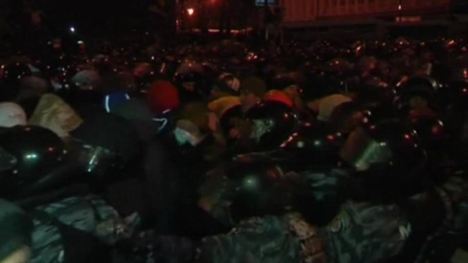 Ukraine protesters scuffle with police