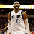 Dallas Mavericks guard/forward Vince Carter (25) shouts after scoring the final points of Dallas' 103-98 win in a NBA basketball game against the Portland Trail Blazers on Friday, March 7, 2014, in Dallas The Associated Press