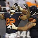 Chicago Bears running back Matt Forte (22) celebrates his touchdown reception with guard Matt Slauson (68) during the second half of an NFL football game against the Baltimore Ravens, Sunday, Nov. 17, 2013, in Chicago The Associated Press