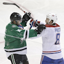Montreal Canadiens right wing Brandon Prust (8) and Dallas Stars left wing Ryan Garbutt (16) mix it up during the second period of an NHL hockey game Saturday, Dec. 6, 2014, in Dallas The Associated Press