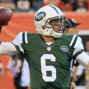 New York Jets quarterback Mark Sanchez passes against the Cincinnati Bengals during the first half of an NFL preseason football game, Friday, Aug. 10, 2012, in Cincinnati. (AP Photo/Al Behrman)