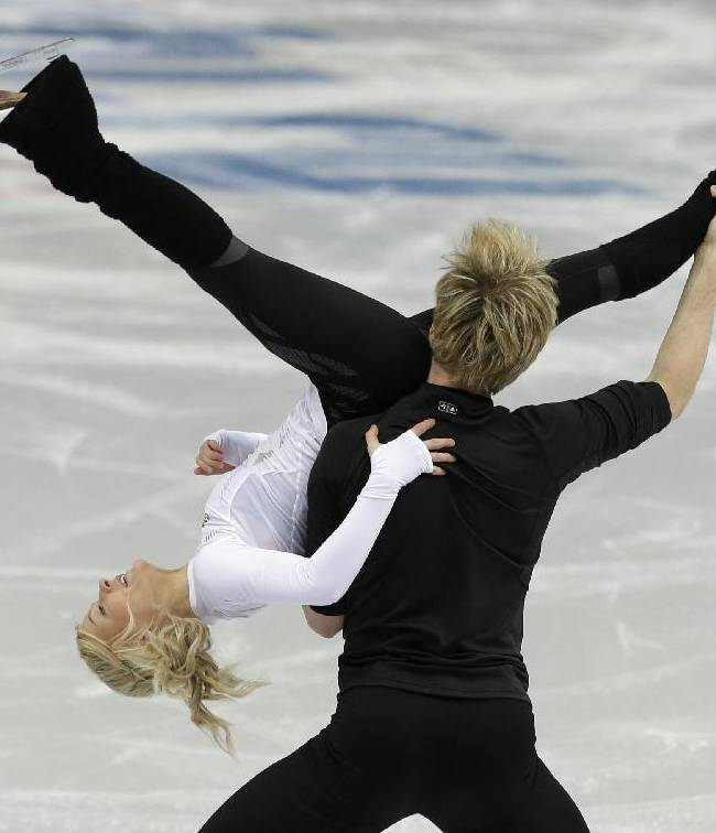 Penny Coomes and Nicholas Buckland of Britain practice during the Ice Dance figure skating training session at the Iceberg Skating Palace ahead of the the 2014 Winter Olympics, Wednesday, Feb. 5, 2014, in Sochi, Russia