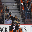 Anaheim Ducks center Ryan Getzlaf, right, celebrates his goal with right wing Devante Smith-Pelly during the first period of an NHL hockey game against the Arizona Coyotes, Friday, Nov. 7, 2014, in Anaheim, Calif The Associated Press