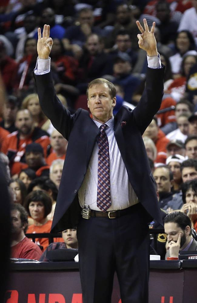 Portland Trail Blazers head coach Terry Stotts directs his team during Game 3 of a Western Conference semifinal NBA basketball playoff series against the San Antonio Spurs, Saturday, May 10, 2014, in Portland, Ore