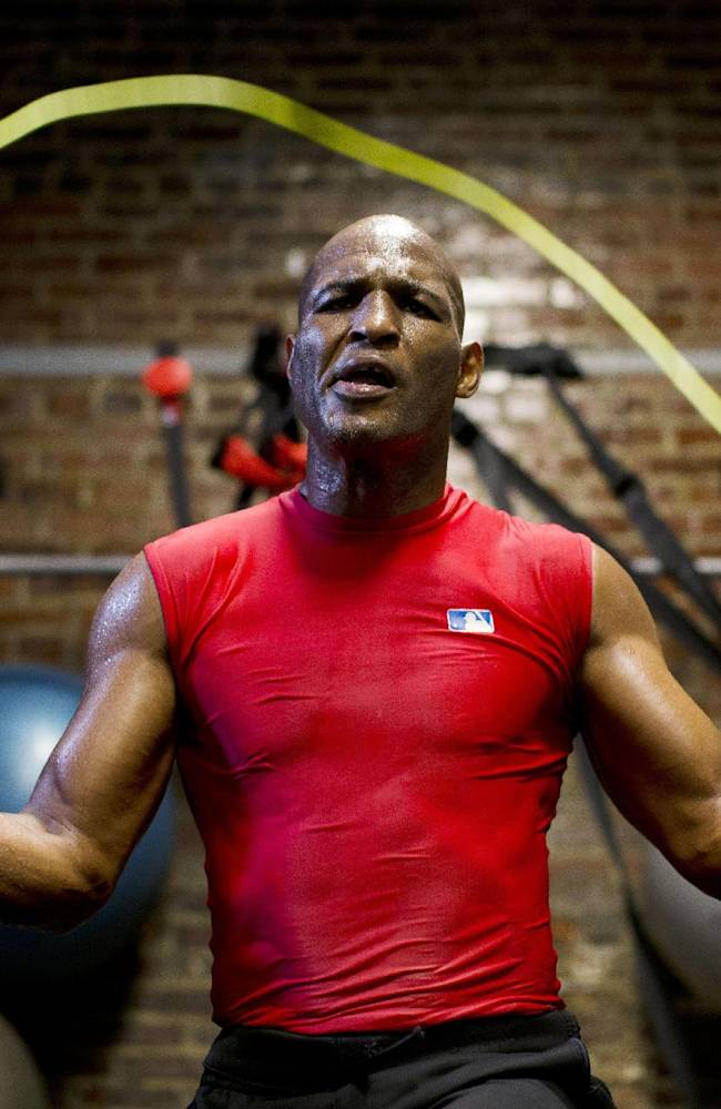 Boxer Bernard Hopkins jumps rope during a media workout Wednesday, Oct. 16, 2013, in Philadelphia. Hopkins is scheduled to fight Karo Murat at Boardwalk Hall in Atlantic City, N.J., on Oct. 26