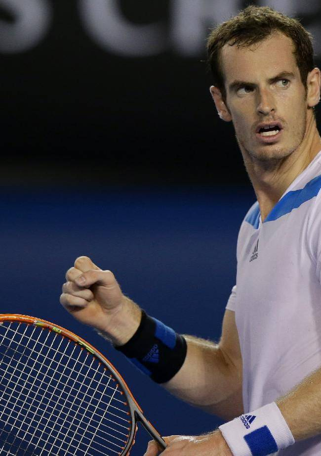 Andy Murray of Britain reacts after winning his second round match against Vincent Millot of France at the Australian Open tennis championship in Melbourne, Australia, Thursday, Jan. 16, 2014
