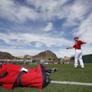 Los Angeles Angels' Chris Iannetta warms up prior to a spring training baseball game against the Chicago Cubs on Friday, Feb. 28, 2014, in Tempe, Ariz The Associated Press