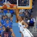 UCLA guard Norman Powell dunks over Arizona guard Jordin Mayes, below right, as forward Grant Jerrett watches during the first half of an NCAA college basketball game, Saturday, March 2, 2013, in Los Angeles. (AP Photo/Mark J. Terrill)
