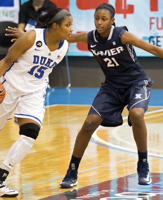 Duke's Richa Jackson, left, drives the ball as she's guarded by Xavier's Maddison Blackwell during the second half of an NCAA college basketball game in St. Thomas, U.S. Virgin Islands, Thursday, Nov. 28, 2013