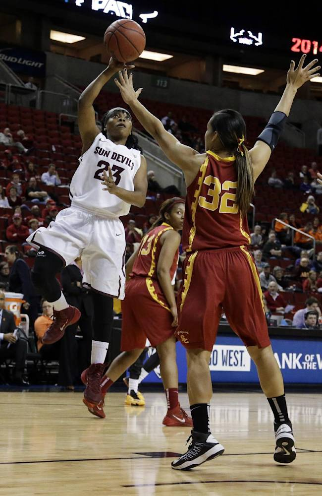 Arizona State guard Elisha Davis (23) shoots over Southern California guard Kiki Alofaituli (32) during the first half of an NCAA college basketball game in the second round of the Pac-12 women's tournament, Friday, March 7, 2014, in Seattle