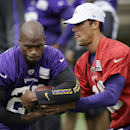 Minnesota Vikings quarterback Matt Cassel, right, fakes a handoff to running back Adrian Peterson during NFL football training camp, Sunday, July 27, 2014, in Mankato, Minn The Associated Press
