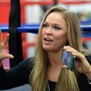 Feb 18, 2015; Glendale, CA, USA; Ronda Rousey talks about her upcoming championship fight during media day for UFC 184 at Glendale Fighting Club. (Jayne Kamin-Oncea-USA TODAY Sports)