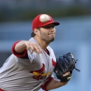 St. Louis Cardinals starting pitcher Lance Lynn throws to the plate during the first inning of their baseball game against the Los Angeles Dodgers, Friday, May 24, 2013, in Los Angeles. (AP Photo/Mark J. Terrill)