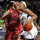 Notre Dame guard Skylar Diggins, right, drives for a shot against Saint Francis forward Shene Fleming during the first half of an NCAA college basketball game, Monday, Dec. 31, 2012, in South Bend, Ind. (AP Photo/Joe Raymond)