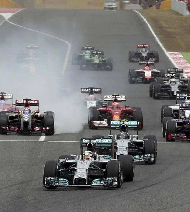 Mercedes driver Lewis Hamilton of Britain  leads the field after the start during the Spain Formula One Grand Prix at the Barcelona Catalunya racetrack in Montmelo, near Barcelona, Spain, Sunday, May 11, 2014