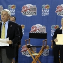 NBA Commissioner David Stern, left, speaks as Houston Mayor Annise Parker listens during an event at the start of the NBA All-Star Jam Session for this weekend's all-star basketball game, in the George R. Brown Convention Center on Thursday, Feb. 14, 2013, in Houston. (AP Photo/Houston Chronicle, James Nielsen)
