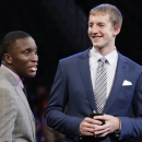 Indiana's Victor Oladipo, left, and Cody Zeller chat before the NBA basketball draft got underway, Thursday, June 27, 2013, in New York. (AP Photo/Kathy Willens)