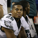 Philadelphia Eagles' Cary Williams (26) looks up at the video board as he sits on th bench in the fourth quarter of an NFL football game against the Dallas Cowboys, Thursday, Nov. 27, 2014, in Arlington, Texas. (AP Photo/Tony Gutierrez)