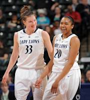 Penn State's Maggie Lucas, left, and Alex Bentley, right, share a laugh in the second half of an NCAA college basketball game in the quarterfinals of the women's Big Ten Conference tournament against Minnesota, Friday, March 2, 2012, in Indianapolis. Penn State won 78-74. (AP Photo/The Star, Matt Kryger) NO SALES