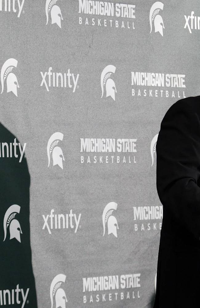 Michigan State coach Tom Izzo addresses reporters during the team's NCAA college basketball media day, Tuesday, Oct. 22, 2013, in East Lansing, Mich