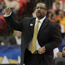 Missouri head coach Frank Haith speaks to his players against Florida during the first half of an NCAA college basketball game in the quarterfinal round of the Southeastern Conference men's tournament, Friday, March 14, 2014, in Atlanta. (AP Photo/Steve Helber)