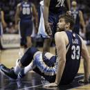 Memphis Grizzlies' Marc Gasol looks for a foul call after he fell to the floor during the second half in Game 1 of a Western Conference Finals NBA basketball playoff series against the San Antonio Spurs Sunday, May 19, 2013, in San Antonio. (AP Photo/Eric Gay)