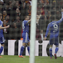 Chelsea's Fernando Torres, right, celebrates after he scored his team's opening goal against Galatasaray during UEFA Champions League Round of 16, First Leg match at Turk Telekom Arena Stadium in Istanbul, Turkey, Wednesday, Feb. 26, 2014. (AP Photo)