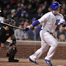Chicago Cubs' Anthony Rizzo watches his RBI double during the sixth inning of a baseball game against the Pittsburgh Pirates in Chicago, Wednesday, April 9, 2014. Chicago won 7-5 The Associated Press