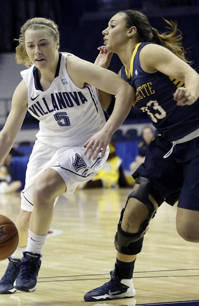 Villanova guard Caroline Coyer, left, drives against Marquette guard Ashley Santos during the second half of an NCAA college basketball game in the quarterfinals of the 2014 Big East women's basketball tournament in Rosemont, Ill., Sunday, March 9, 2014. Marquette won 56-53