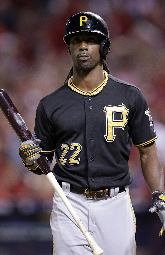 Pittsburgh Pirates' Andrew McCutchen walks back to the dugout after striking out in the first inning against the St. Louis Cardinals in Game 5 of a National League baseball division series, Wednesday, Oct. 9, 2013, in St. Louis