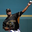 Pittsburgh Pirates starting pitcher Francisco Liriano warms up before the first inning of an exhibition spring training baseball game between the Pittsburgh Pirates and the Boston Red Sox in Bradenton, Fla., Monday, March 3, 2014 The Associated Press